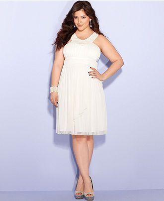 Trixxi Plus Size Dress, Sleeveless Beaded Empire - Plus Size ...
