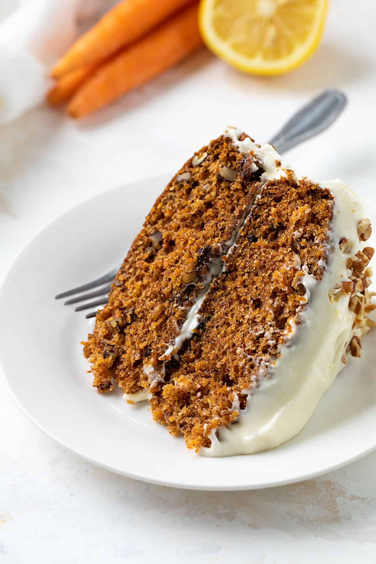 Carrot Cake with Lemon Cream Cheese Frosting | The Blond Cook #lemoncreamcheesefrosting