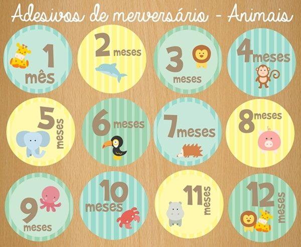 Artesanato Madeira Passo A Passo ~ Adesivo digital de mesversário Animais Imprimir, Impress u00e3o e Mam u00e3e