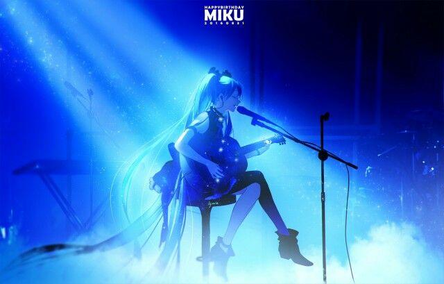 Girl Blue Microphone Singer Singing Hatsune Miku