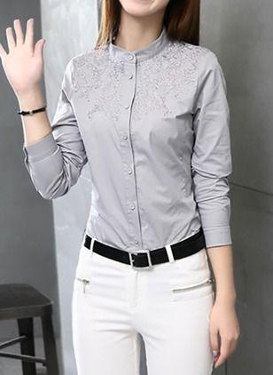 Llanura Casuales Algodon Cuello Redondo Mangas 3 4 Camisas De Camisa De Moda Ropa Blusas Camiseras