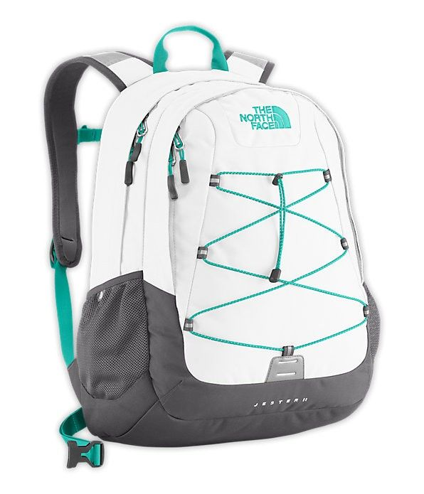 north face white polyester backpacks for