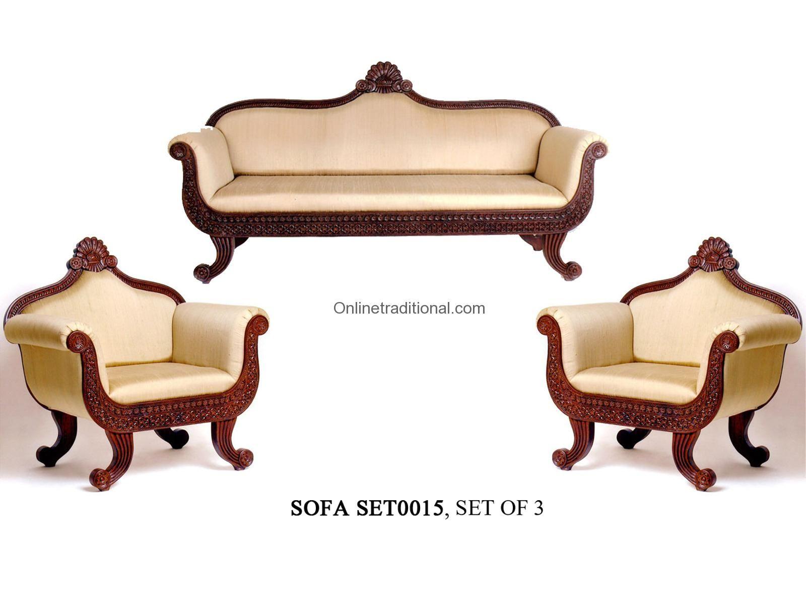Antique craved teak wood sofa set Indian Furniture