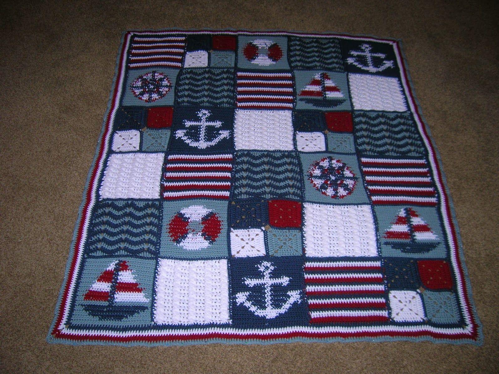 Nautical Baby Afghan - anchor - sail boat - compass - life preserver ...