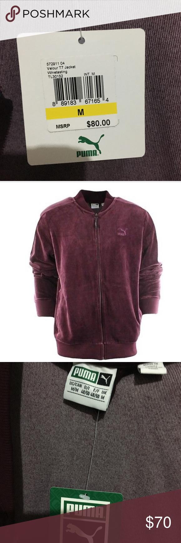 Velour t puma jacket plum color never worn velvet material puma