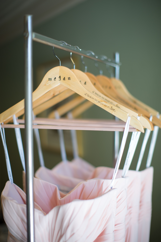 Hand Stamped Bridesmaid Hangers With Blush Dresses Beautiful Exchange  Photography Tulsa, OK Wedding Tulsa