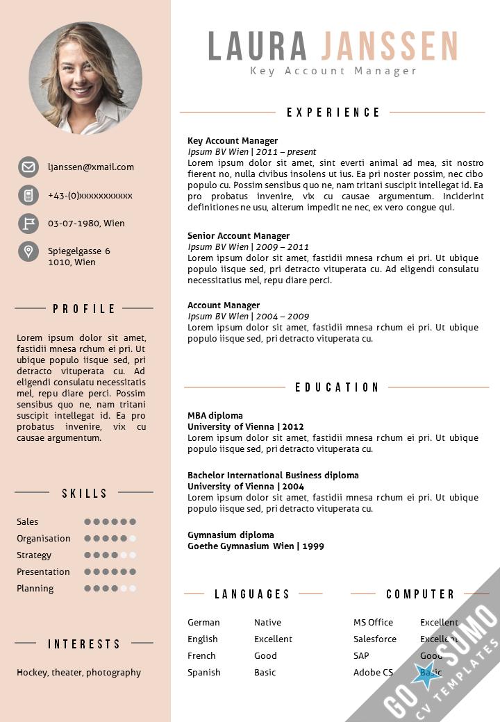 design cv anglais template