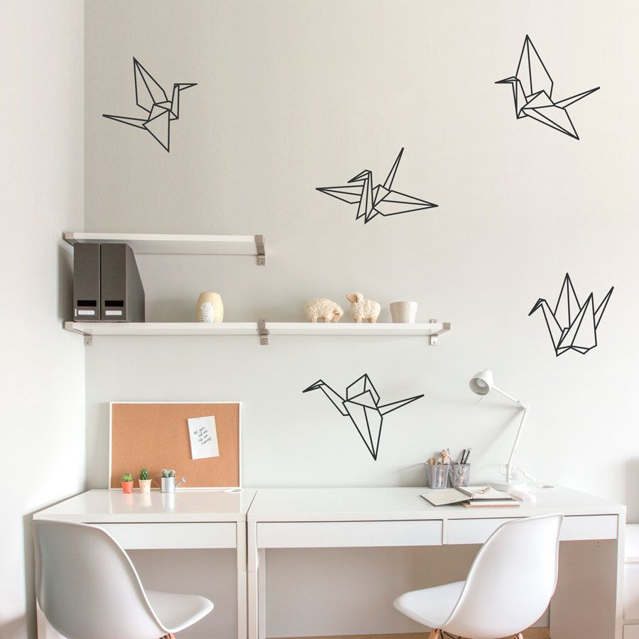popular items for crane wall decal on etsy origami pinterest origami cranes wall decal paper crane art paper crane decal sticker origami decal origami wall art origami crane art crane decal