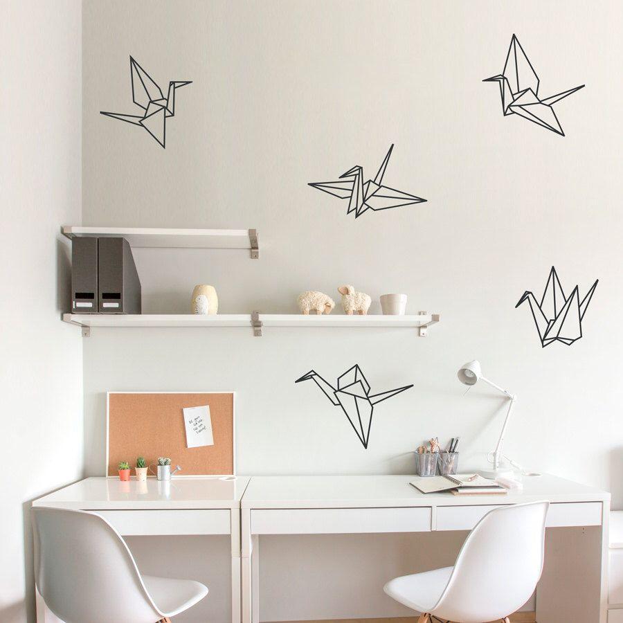 origami cranes wall decal paper crane art paper crane decal sticker origami decal origami. Black Bedroom Furniture Sets. Home Design Ideas
