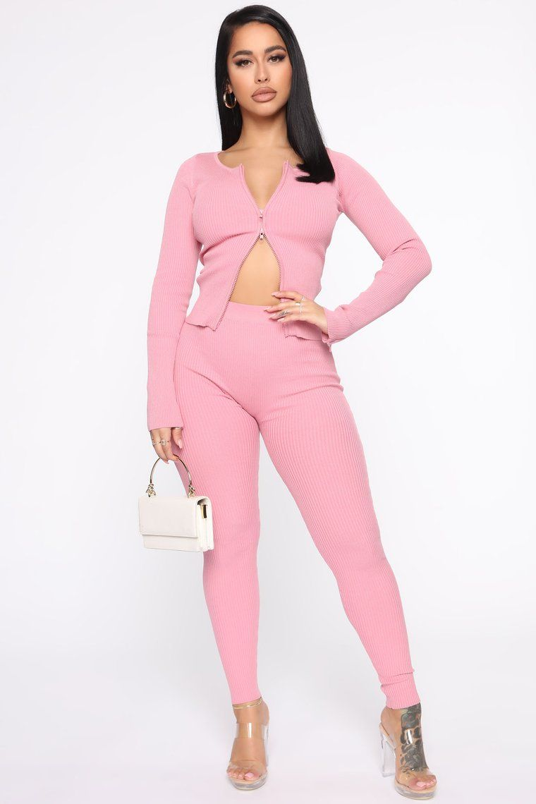 Wrong Way Sweater Pant Set Pink In 2020 Matching Sets Fashion Sweater Pants Tops For Leggings