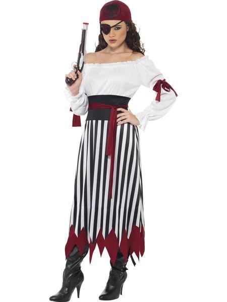 Naamiaisasu; Piraatti Lady. Naamiaisasuina merirosvoteemaan liittyvät asut ovat suosittuja niin aikuisten kuin lastenkin keskuudessa. Tämä Piraatti Ladyn musta-valkea naamiaisasu on koristeltu punaisilla yksityiskohdilla ja asuun kuuluu myös päähine. Naamiaisasu on tyylikäs valinta kesäjuhliin tai vaikka lasten merirosvosynttäreille! Sisältää: - mekko - vyö - päähine