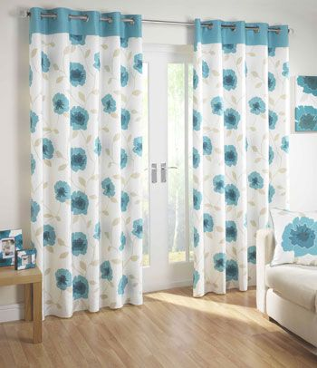This cool and tranquil design features a teal top border with a two - cortinas azules