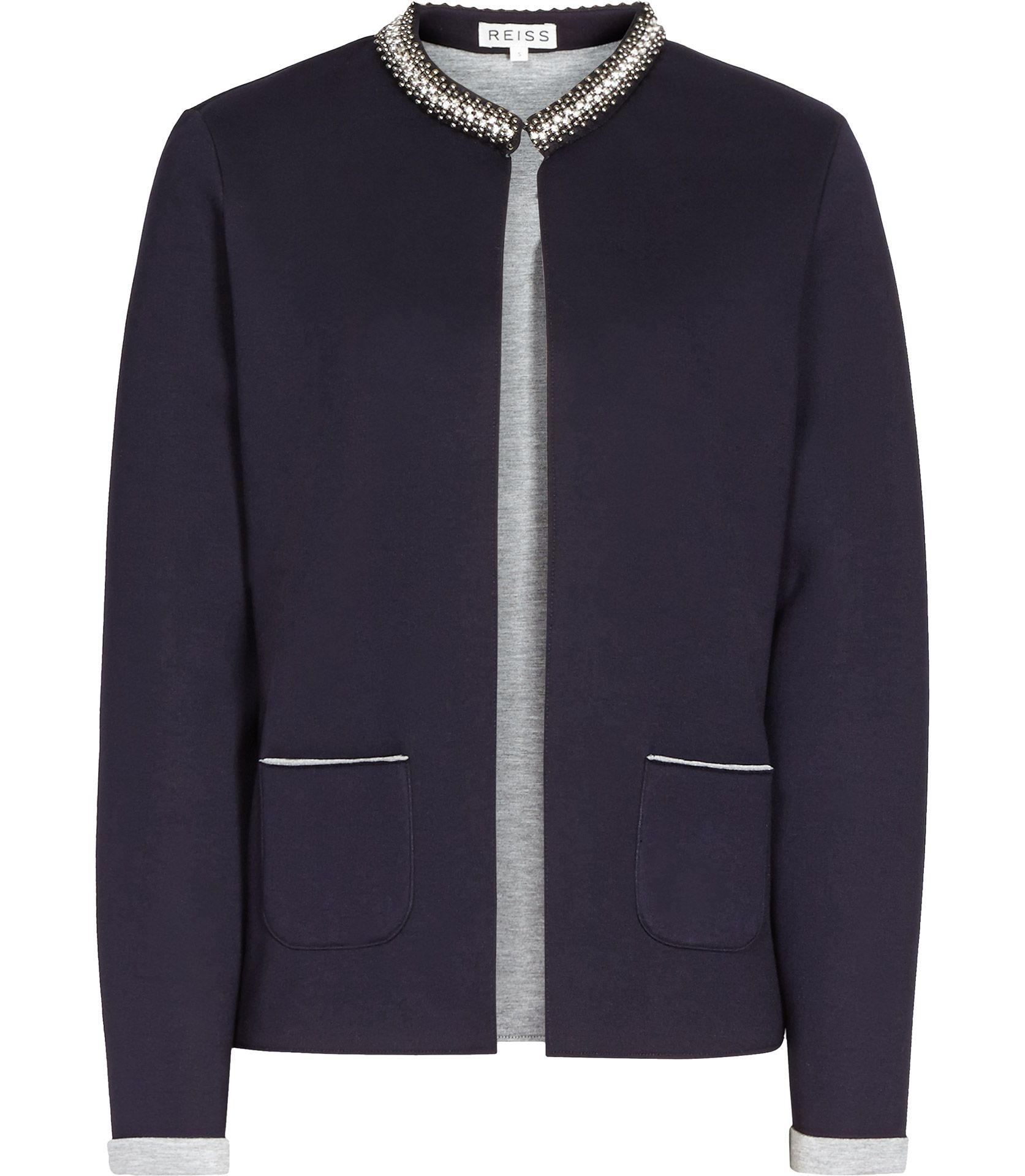 fc756d7071 Womens Navy Embellished Tailored Jacket - Reiss Flame | Coats and ...