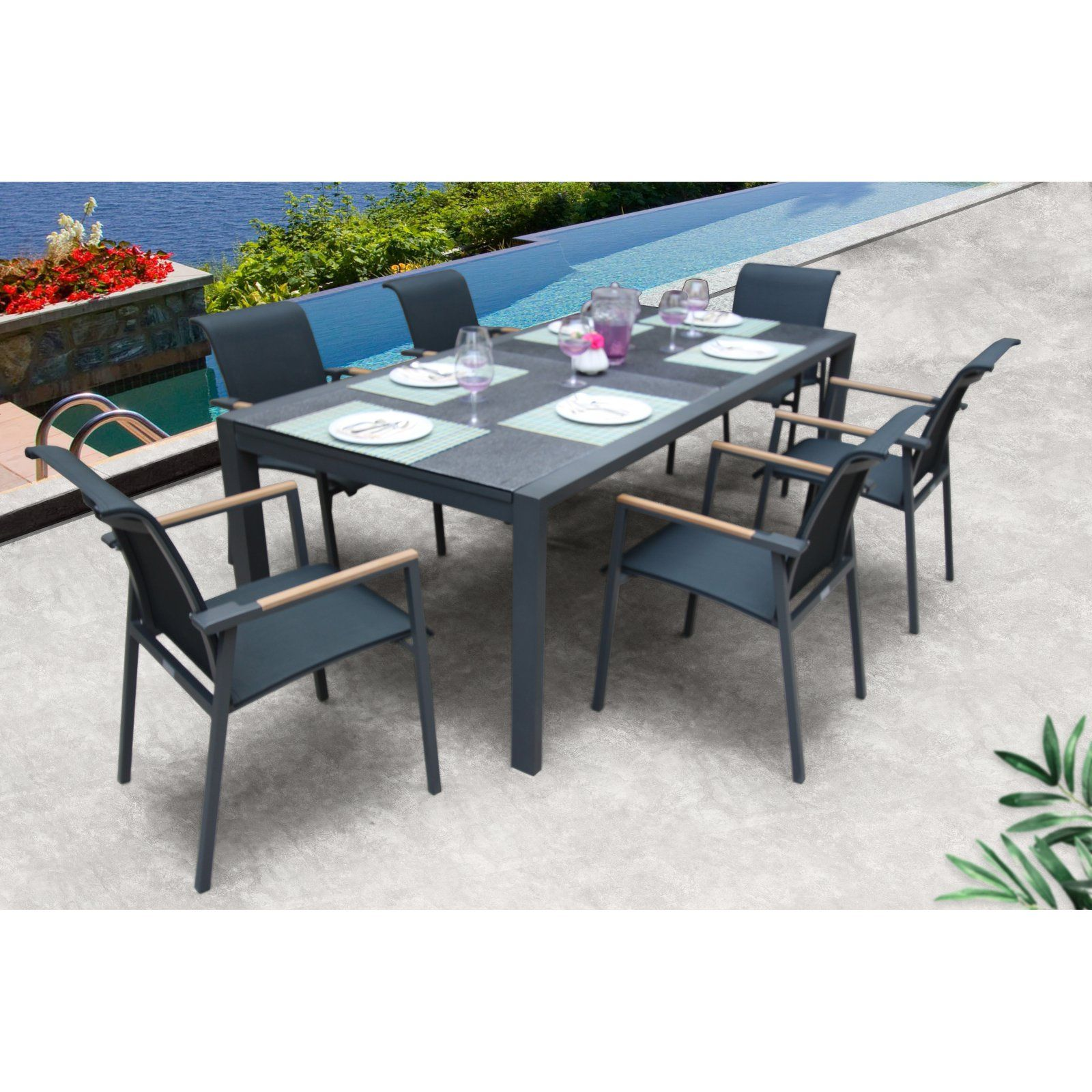 Outdoor Bellini Home And Gardens Anew Aluminum 7 Piece Patio Dining Set Patio Dining Set Modern Outdoor Dining Modern Outdoor Dining Sets