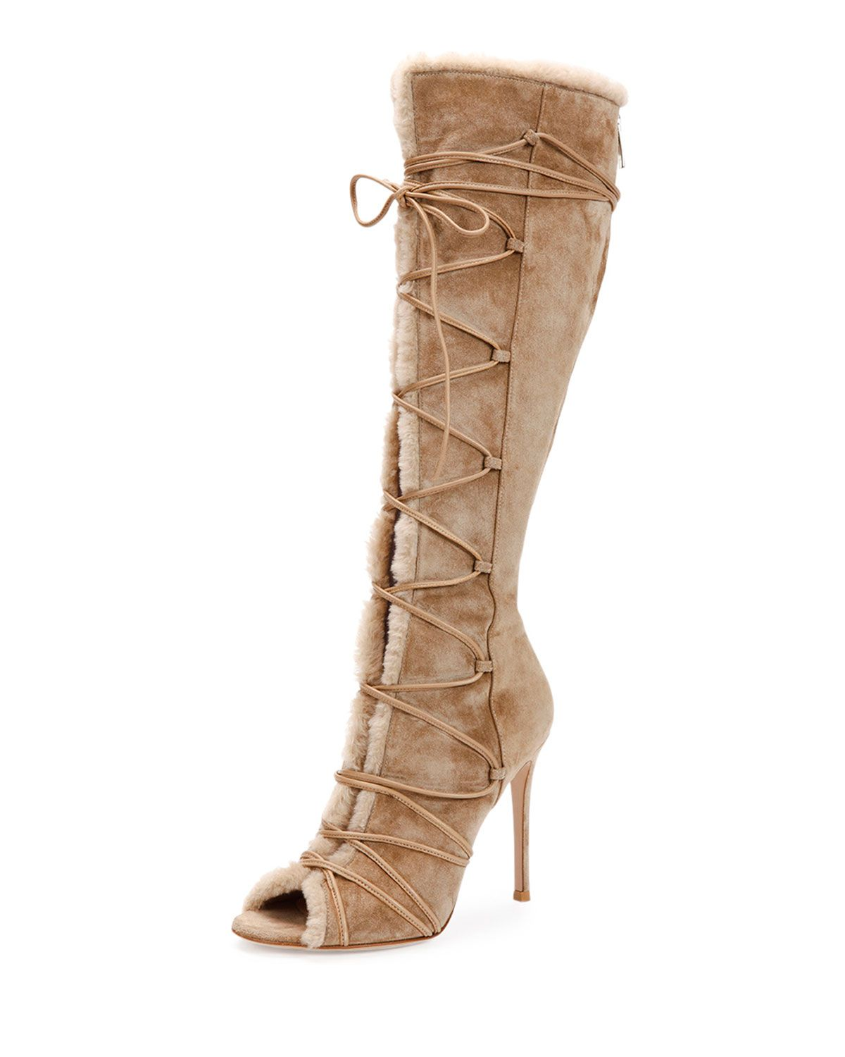 Gianvito Rossi Open-Toe Shearling Fur Lace-Up Boot, Bisque