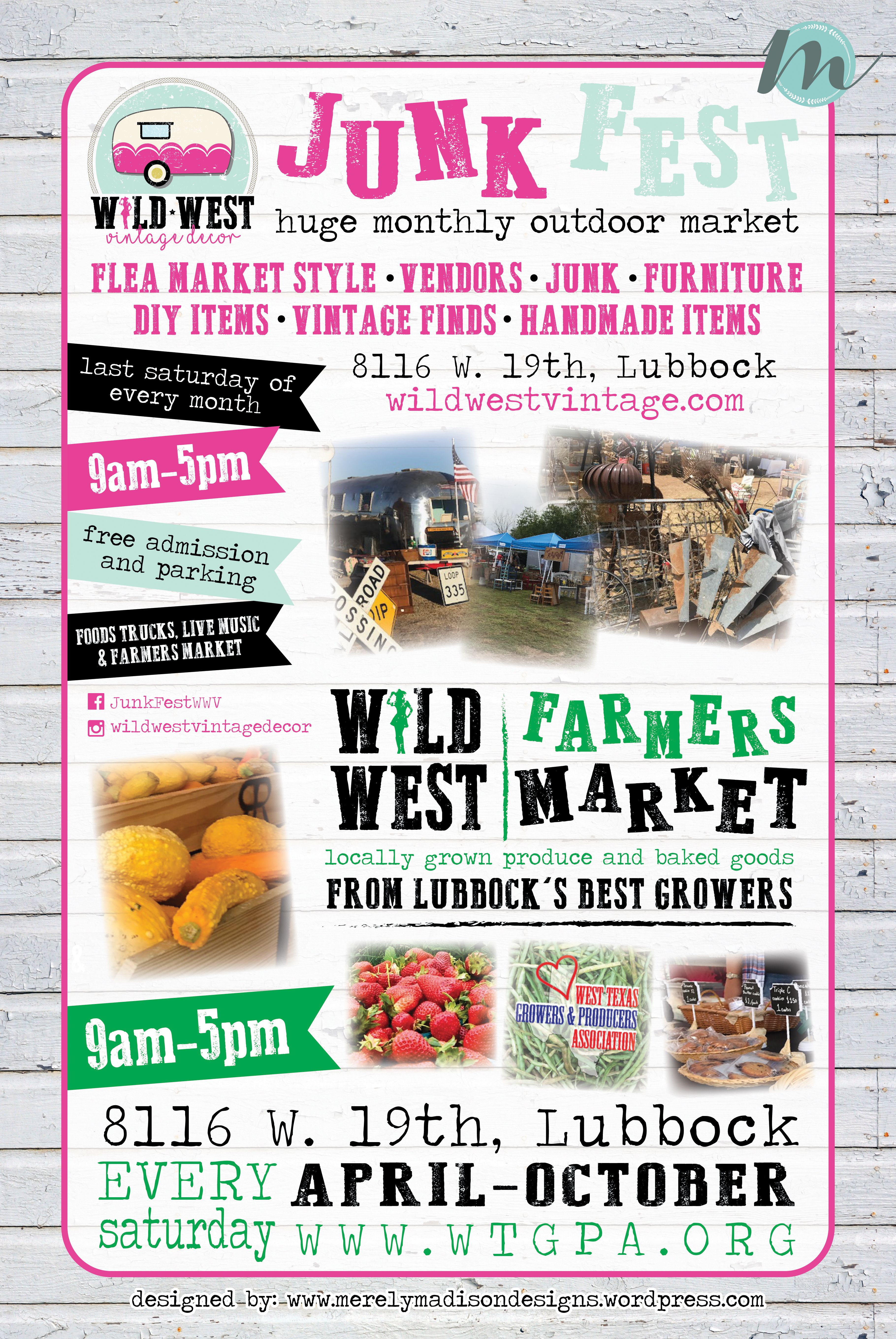 Junk Fest and Farmers Market Lubbock, Texas Event Poster