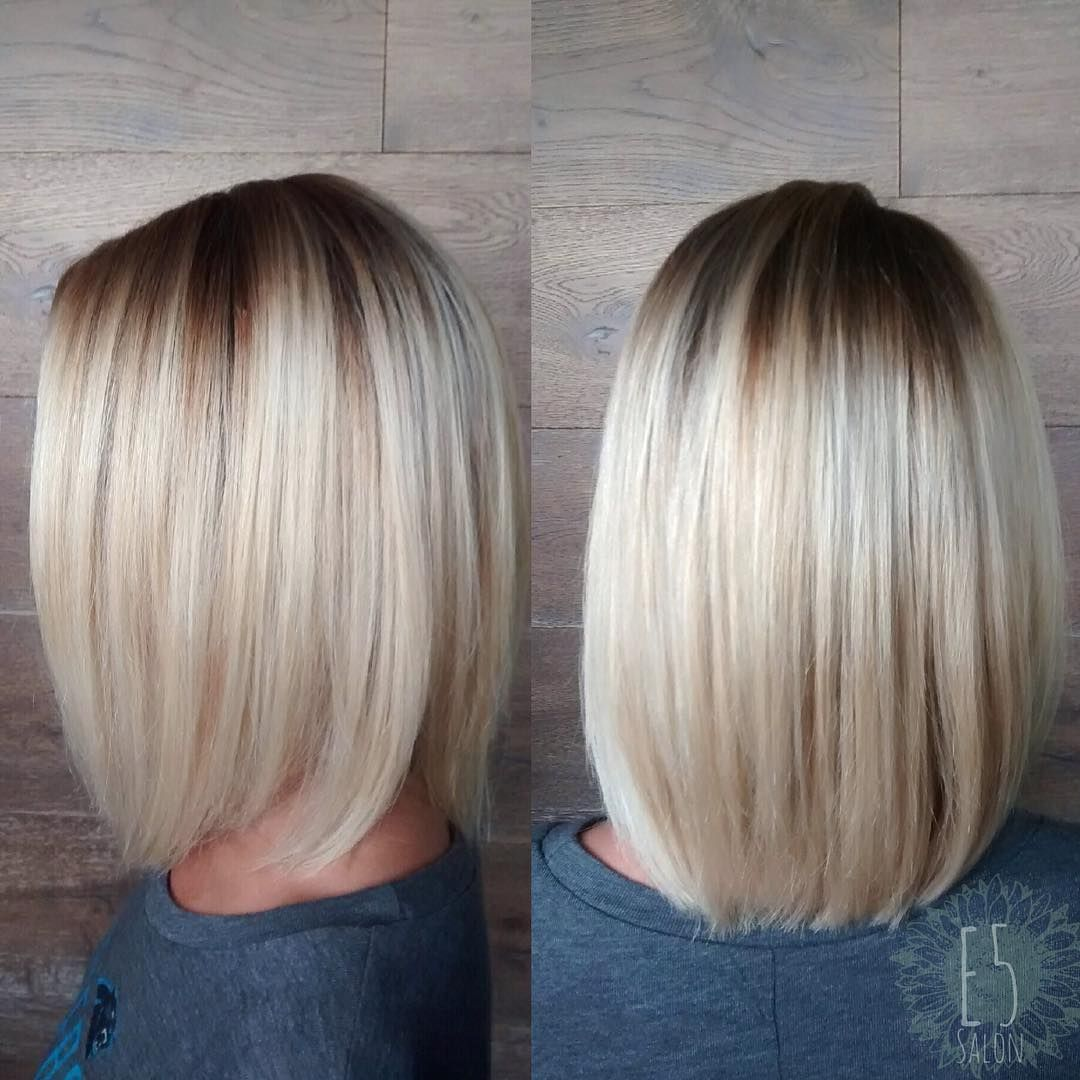 haircuts for with bangs platinum bob with root shadow hair by beckie 5453