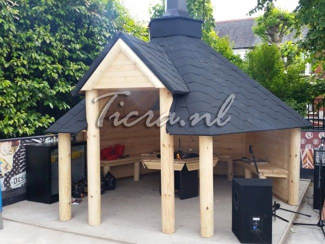 Open Wooden BBQ Hut   Summer House   Grill Hut   Teak House   Comes With  Bitumen Tiles, BBQ Grill/Fire With Cooking Platforms, Table Around The  Grill;