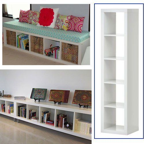 Ikea Expedit Bookcase White Multi-Use- Easily turn this bookcase on its side to create a window seat!
