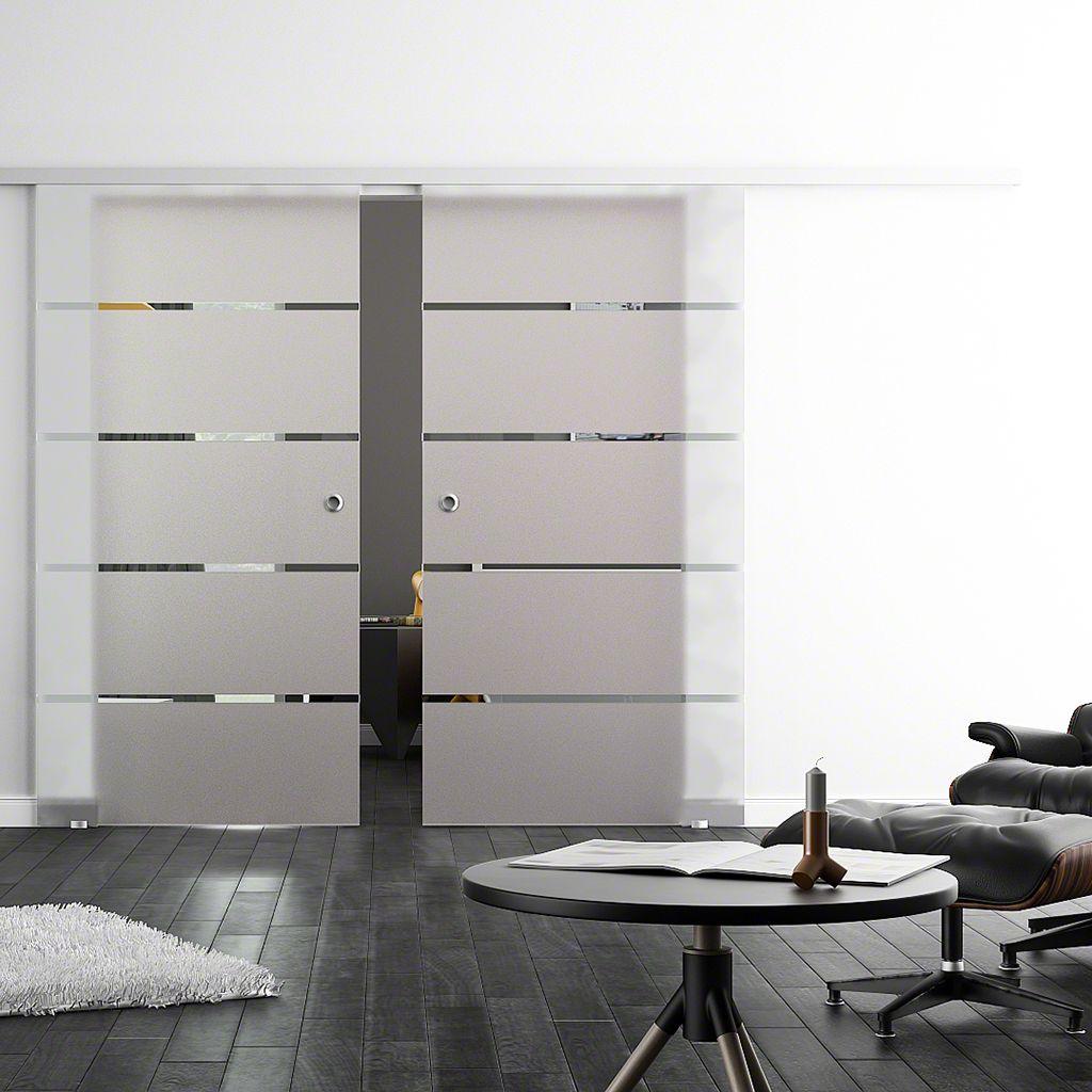 glasschiebet r levidor softstop soft close 2 flg siebdr 4 streifen 775x2050mm. Black Bedroom Furniture Sets. Home Design Ideas
