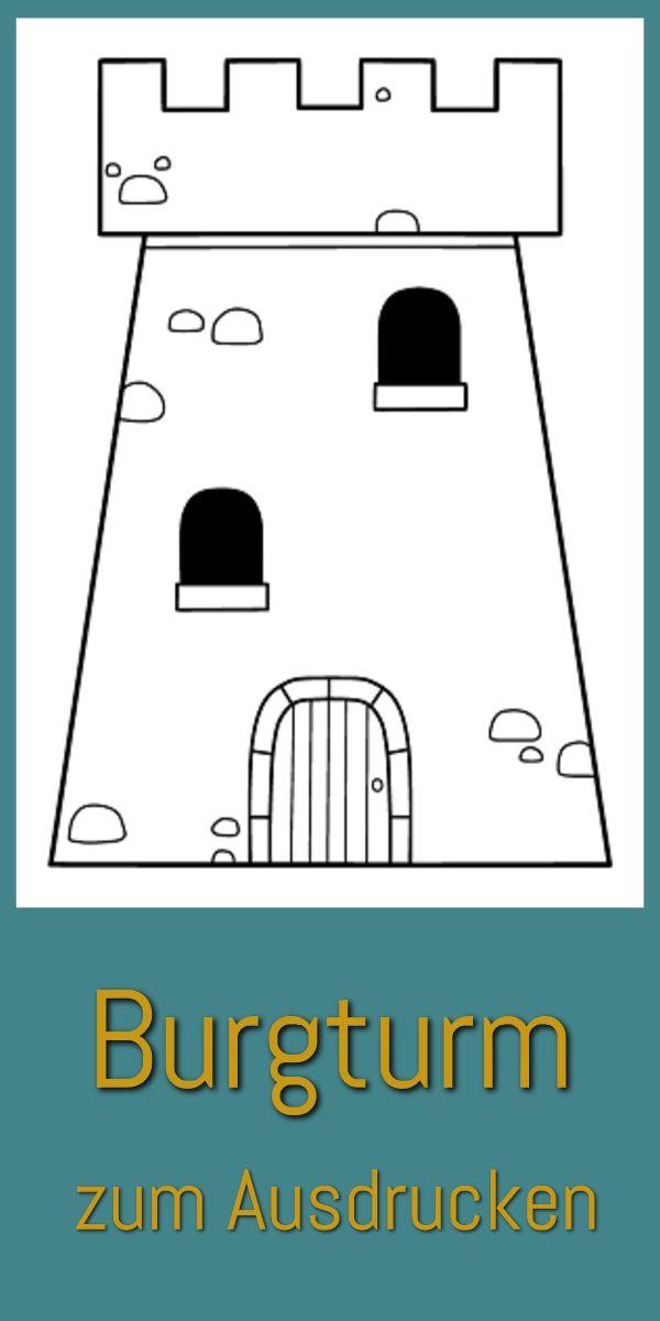 Burgturm Ausmalbild (kostenlose Druckvorlage) | Ritter Burgen Abenteuer