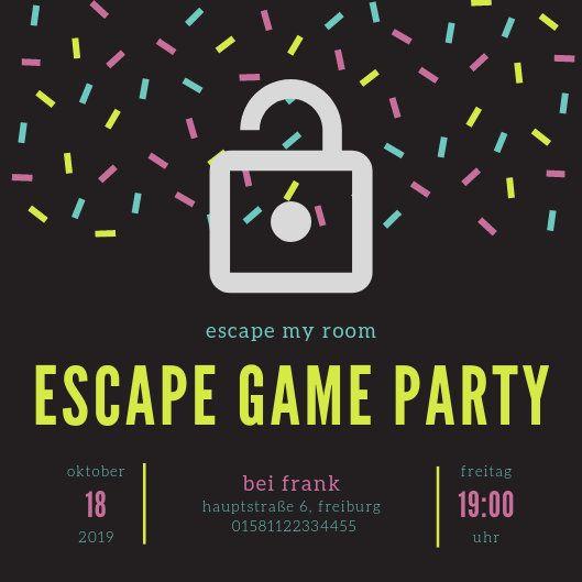 Einladung zur Escape Game Party zum Ausdrucken, escape my room, personalisierbares Printable