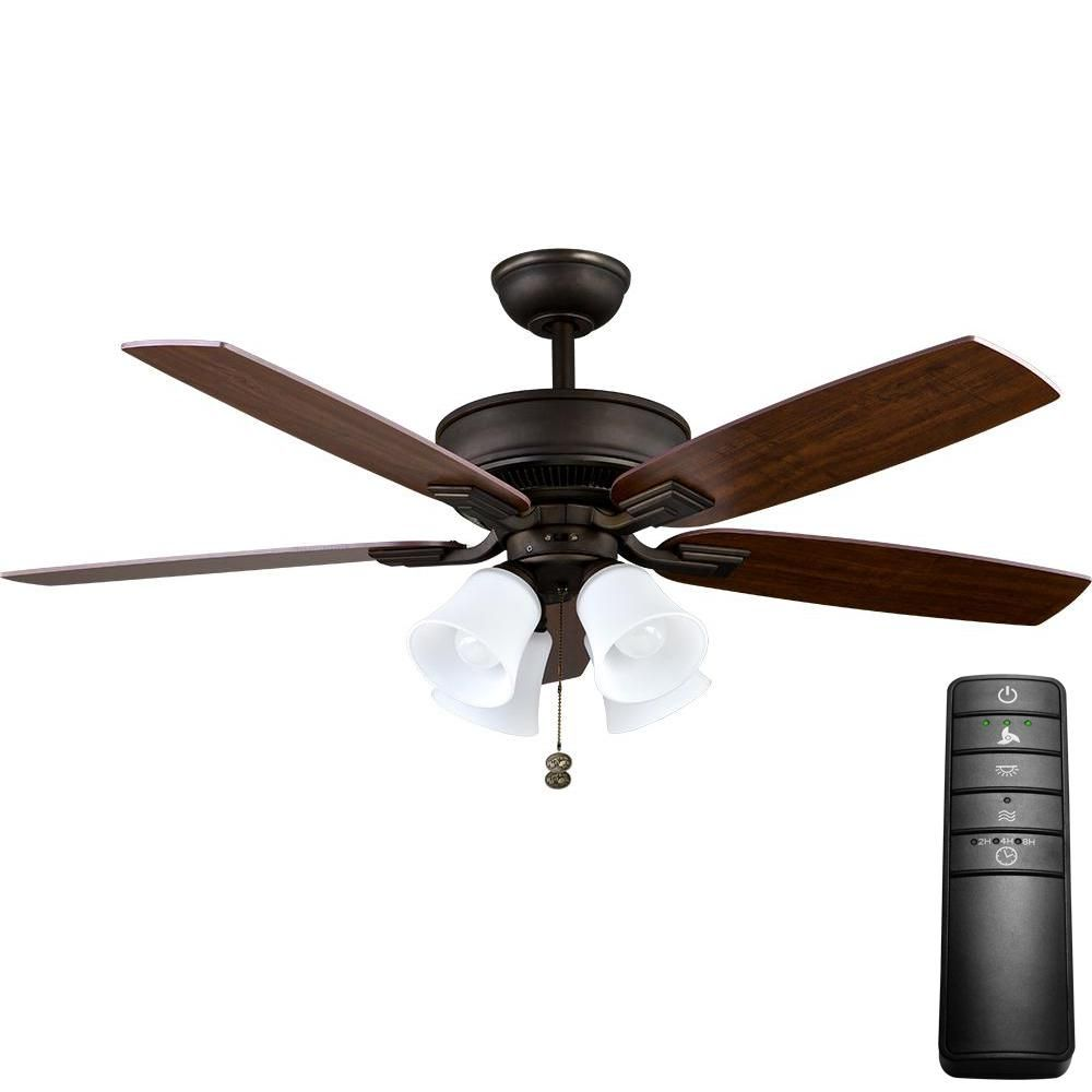Hampton Bay Devron 52 In. LED Brushed Nickel Ceiling Fan