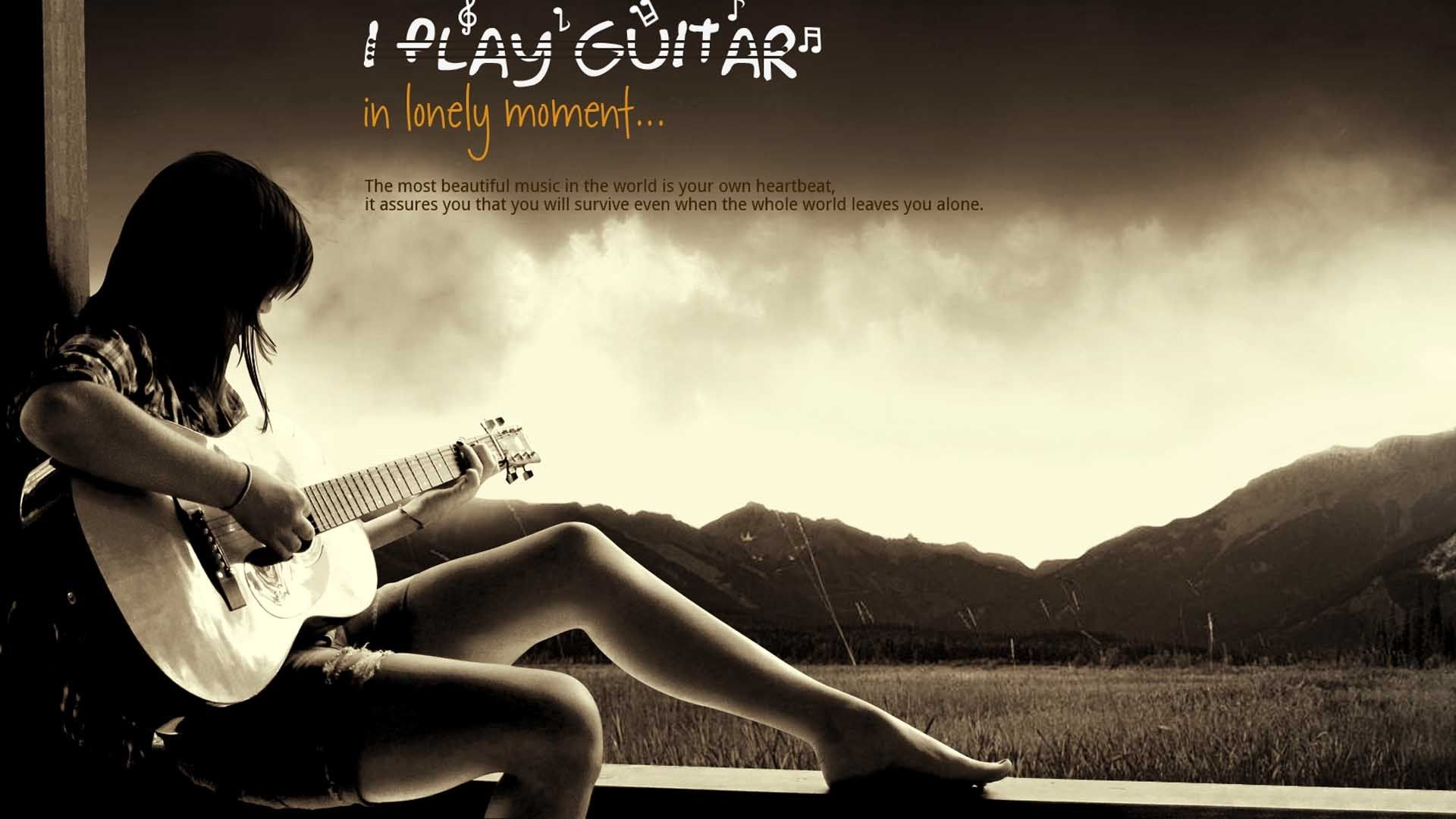 alone girl play guitar hd wallpapers free o oshenka