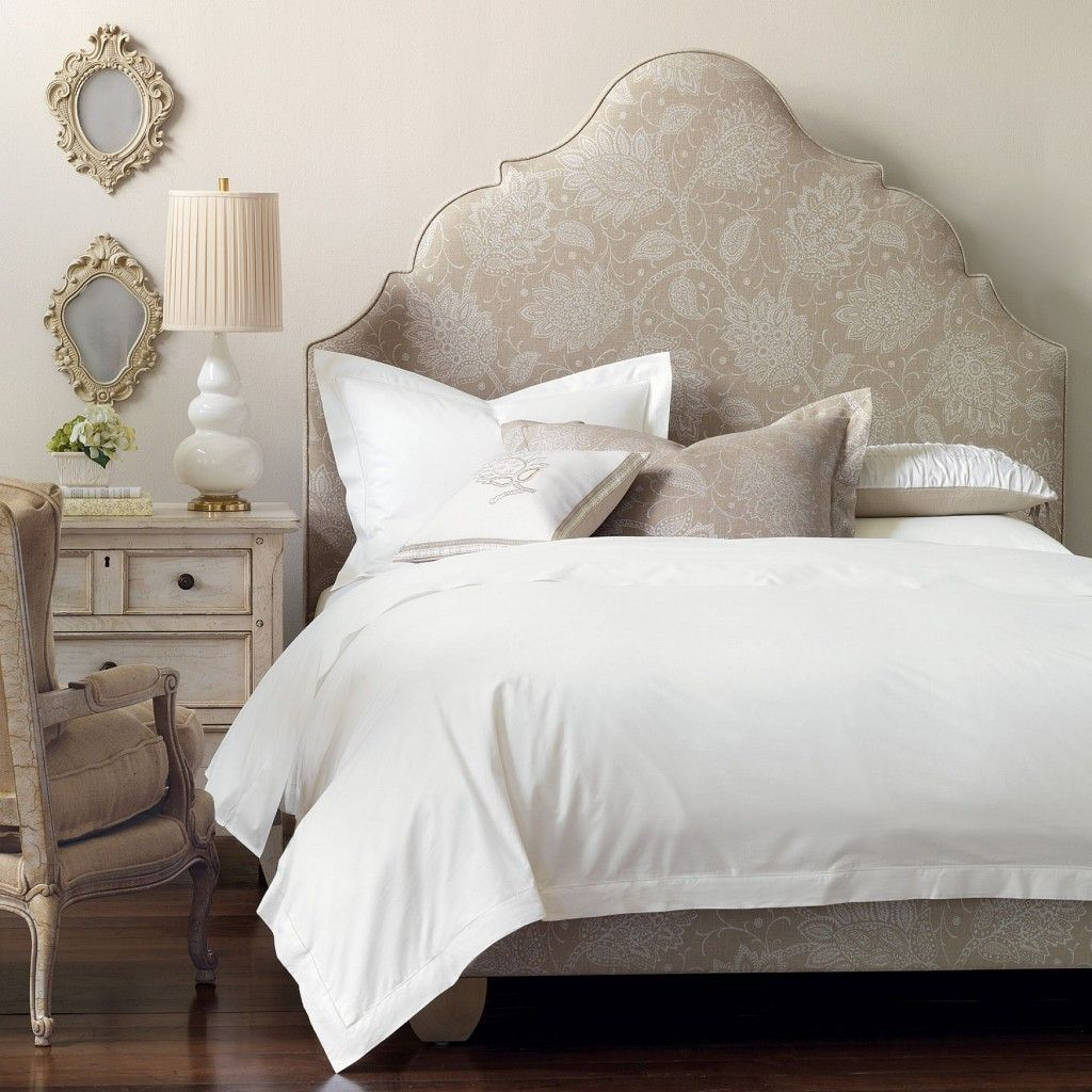 Bedroom , Lovable Bed Headboard Design for Pretty Bedrooms : Cream Headboard With Classic Look For Traditional Bedroom Idea