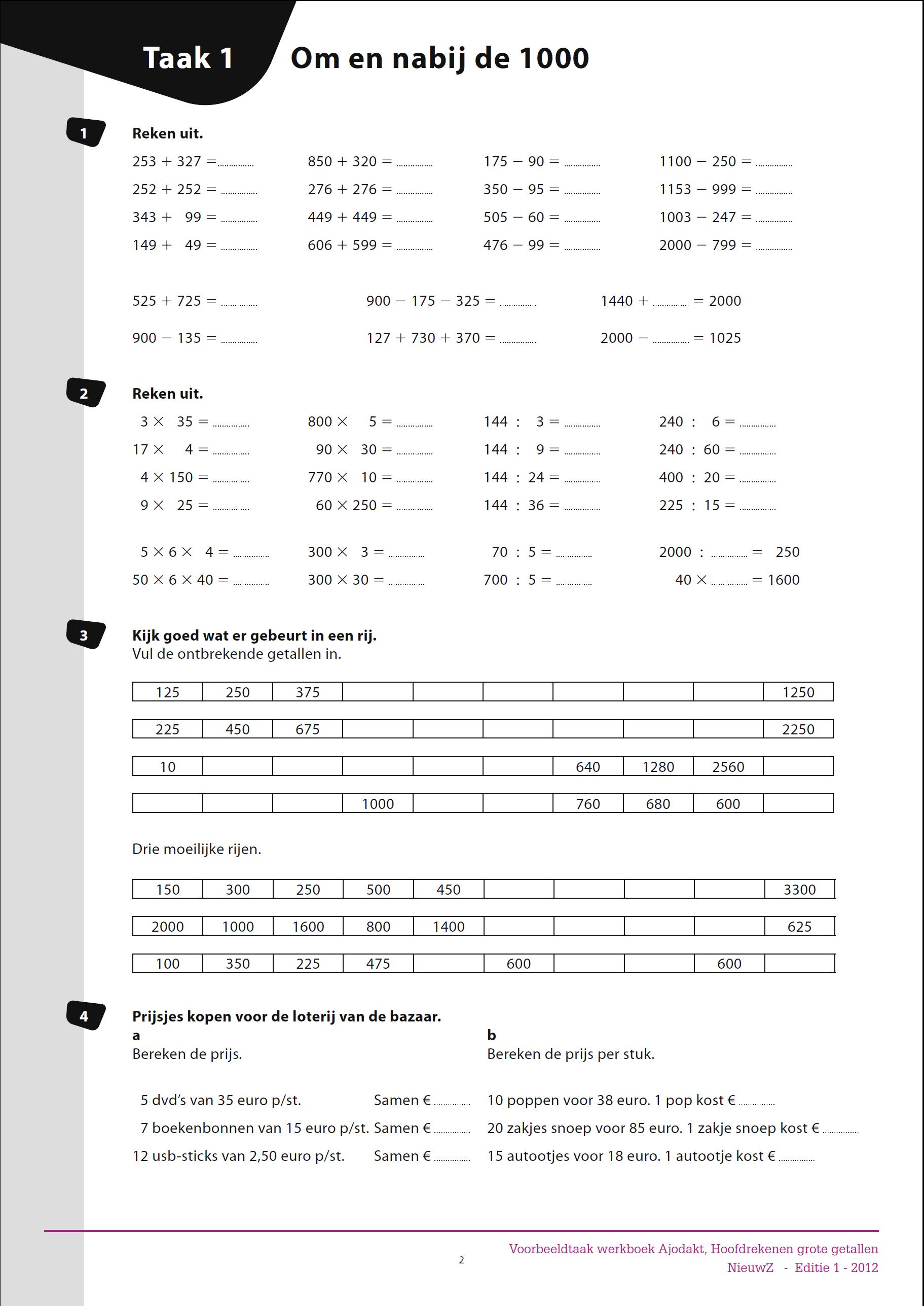 Bekend Rekenen groep 5 - Werkbladen voor groep 5 | Matematika 3. osztály  AS39