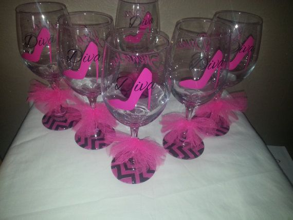 Set of 3 high heel Wine Glasses with by PrettyLittleDezigns, $33.00
