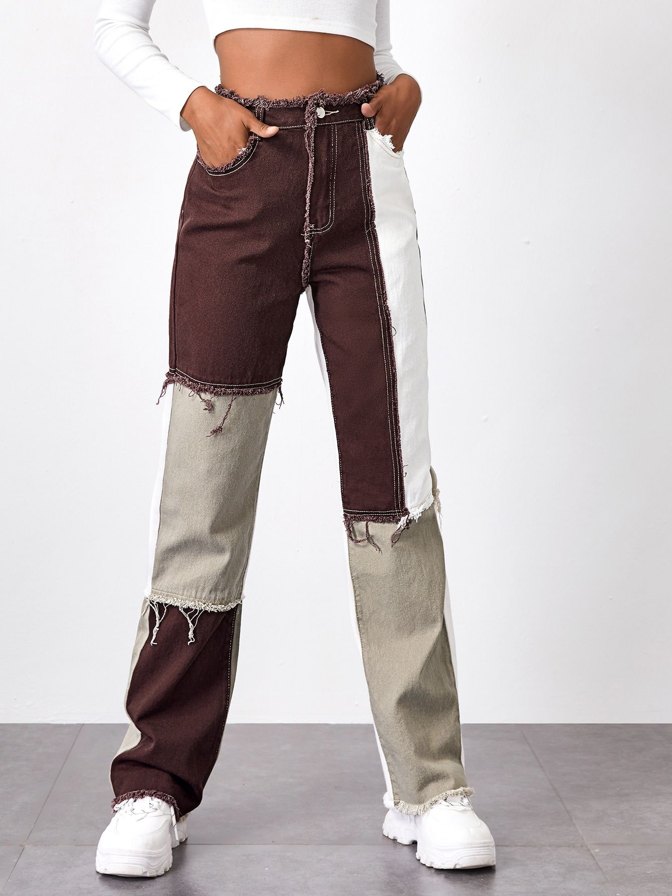 Bleach Wash High-Rise Wide Leg Jeans