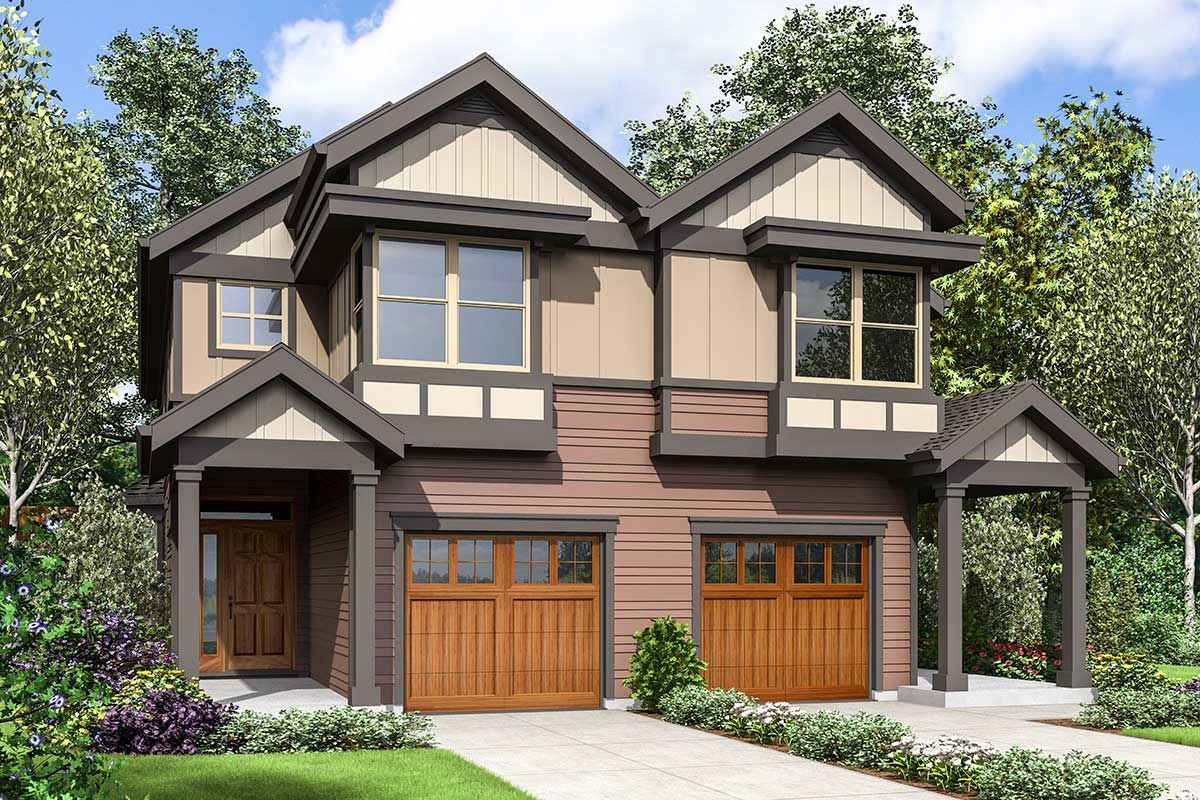 Craftsman Duplex House Plan with Covered Entries