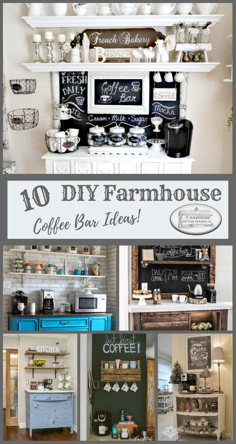 Check out these 10 best DIY farmhouse coffee bar ideas. Find detailed instructions on how to build your own decorative rustic farmhouse coffee station. #coffeebarideas