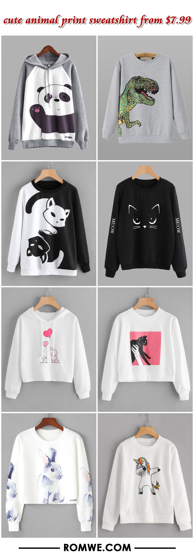 cute animal print sweatshirt - romwe.com
