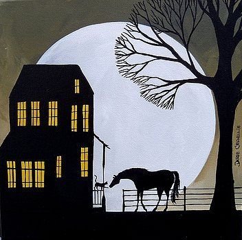 Silhouette horses moon herd night Giclee art ACEO print of painting Criswell