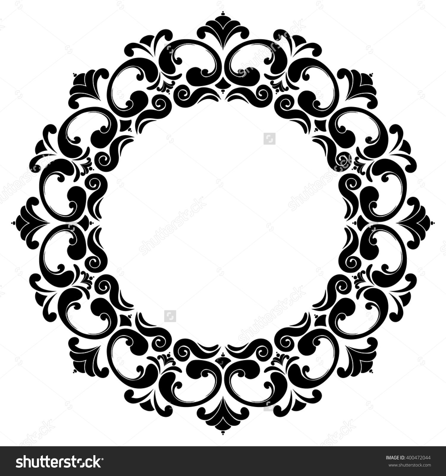 Round Black And White Frame With Curls Baroque Decorative Element