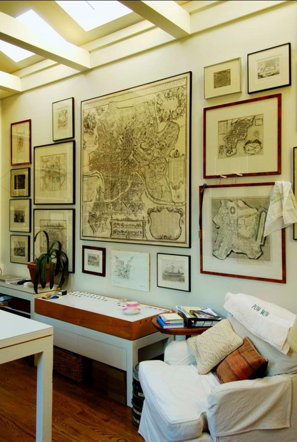 Decorating With Maps As Inexpensive Wall Art