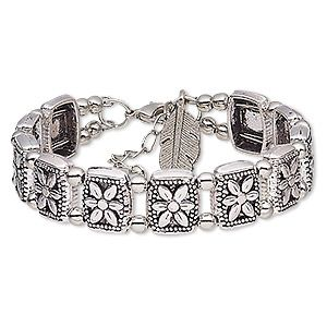 Bracelet, antique silver-plated steel and pewter (tin-based alloy), 14mm wide with rectangle and flower design with feather dangle, 6-1/2 inches with