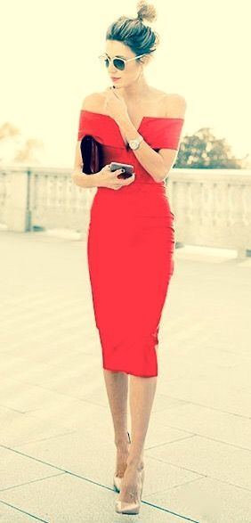 red shoulder-free dress