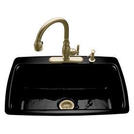 Kohler Cape Dory 22 In X 33 In Black Black Single Basin Cast Iron Drop In 4 Hole Residential Kitchen Sink 5863 4 7 Sink Cast Iron Kitchen Sinks Cast Iron