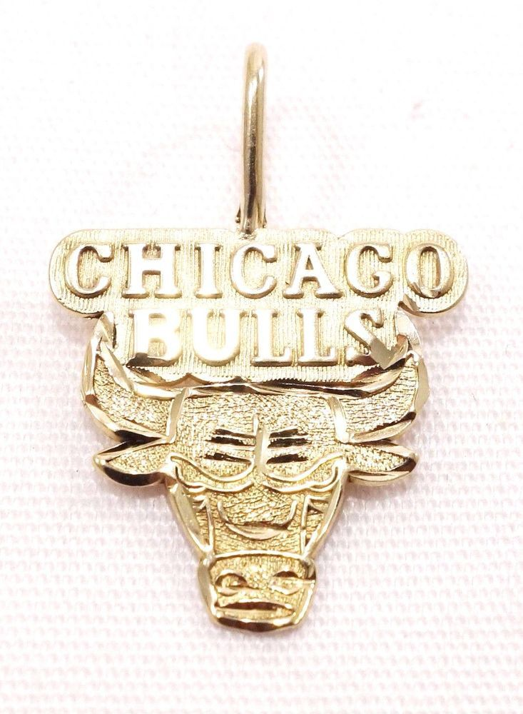 14k Solid Gold Chicago Bulls Pendant Charm Basketball NBA Sports Free Shipping #Pendant