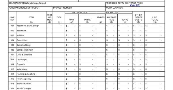 Construction Cost Estimate Breakdown: The form allows a