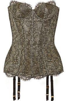 e0bf0ab27ac Agent Provocateur Shina lace and metallic crepe corset