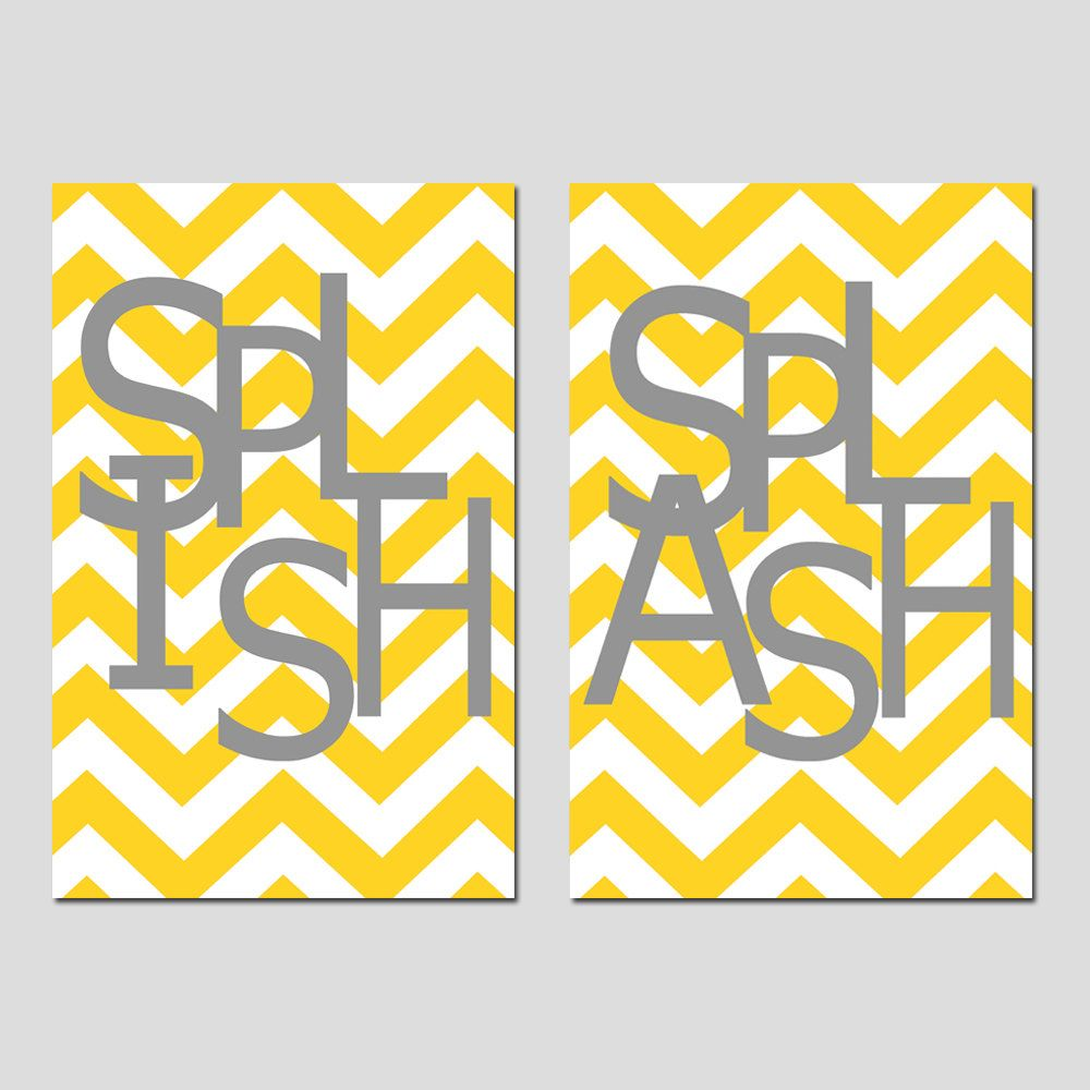 Kids Bathroom Wall Art Print Set - Pick TWO 11x17 Chevron Prints ...
