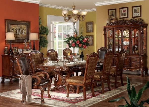 Dresden Traditional Cherry Oak Wood Fabric 9pc Dining Room Set