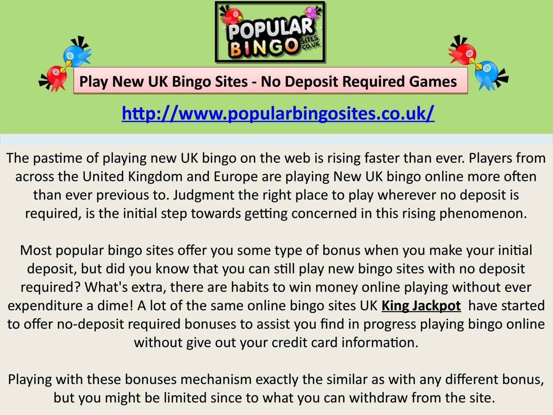 Bingo Games No Deposit Required