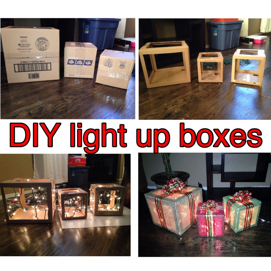 diy light up presents out of cardboard boxes need glue gun string of 100 lights sheer fabric ribbon and of course 3 cardboard boxes 3 different