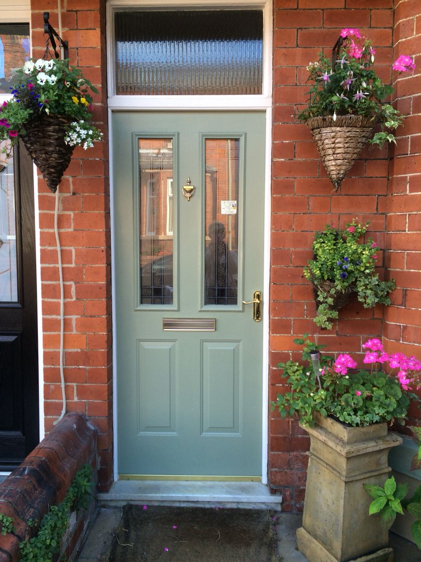 Victorian Terrace Front Door Sage Green Porch