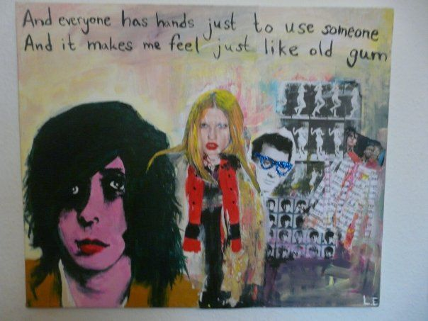 """""""Friends of Mine"""" by Linnea Englander, 2008, acrylic & collage on canvas"""